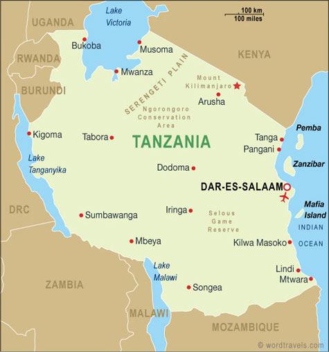 Tanzania Map African Safaris Tanzania Tours And Safaris